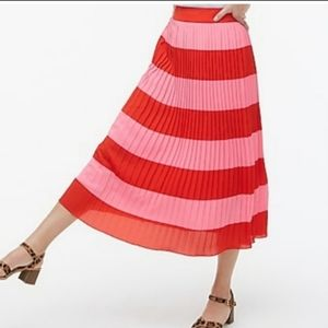 J. Cred red/pink pleated skirt